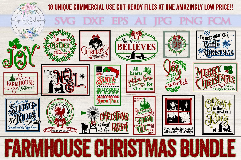 Farmhouse Christmas Bundle of 18 SVG Designs example image 1