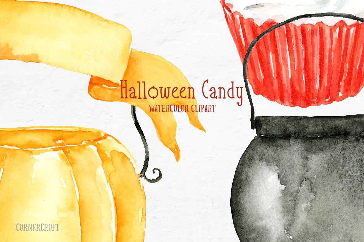 Watercolor Halloween Candy example image 5