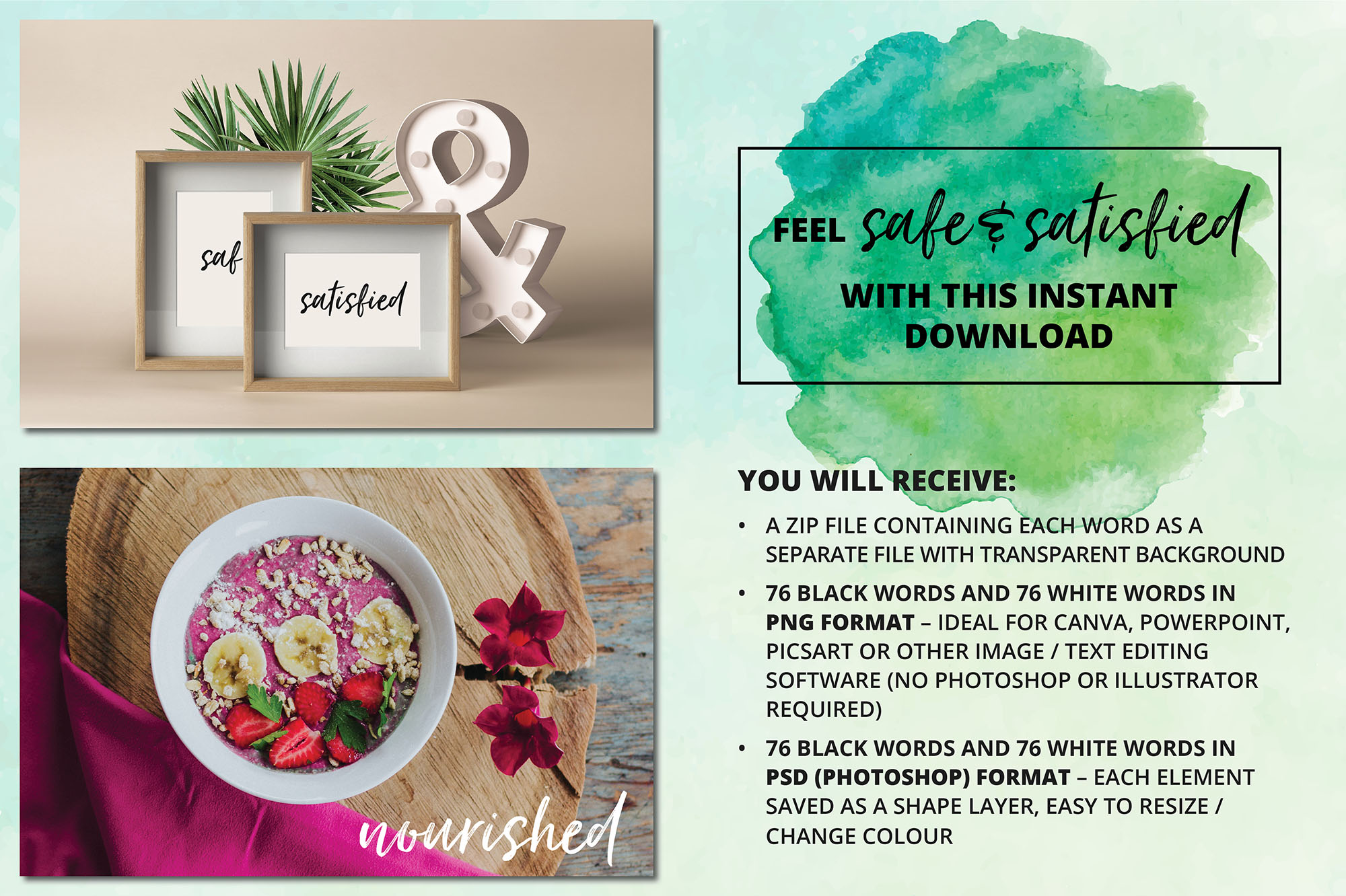 Social Media Overlays - 152 Safe & Satisfied Emotions Words example image 5