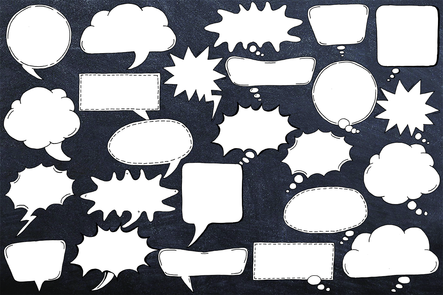 24 Hand Drawn Black and White Speech Bubbles Doodle Clipart example image 3