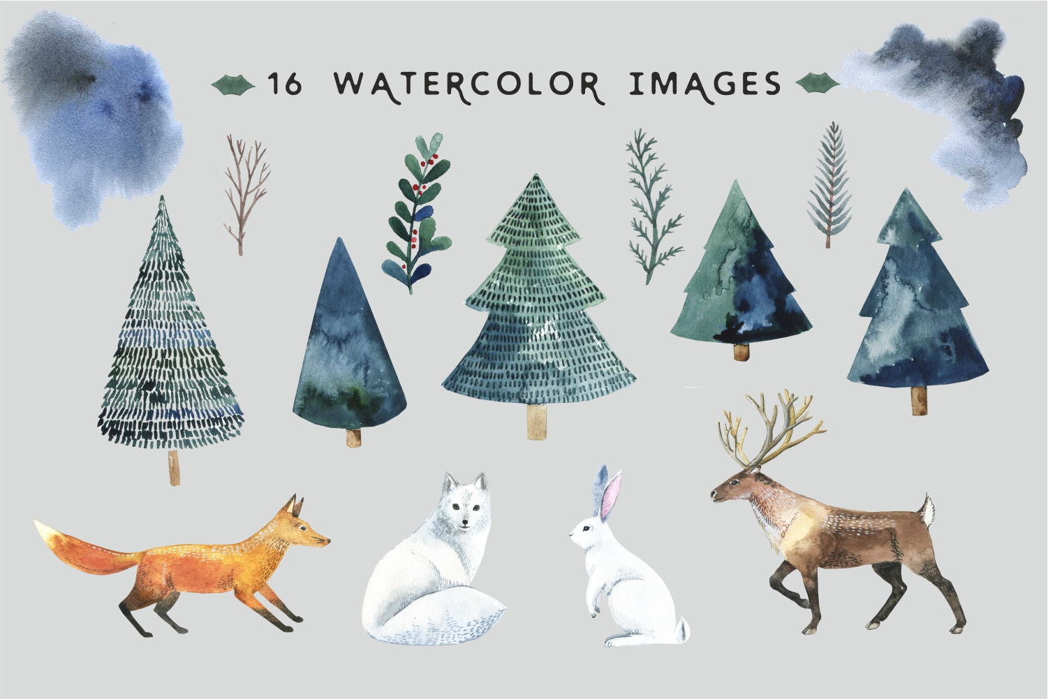 Watercolor animal forest - watercolor set example image 2