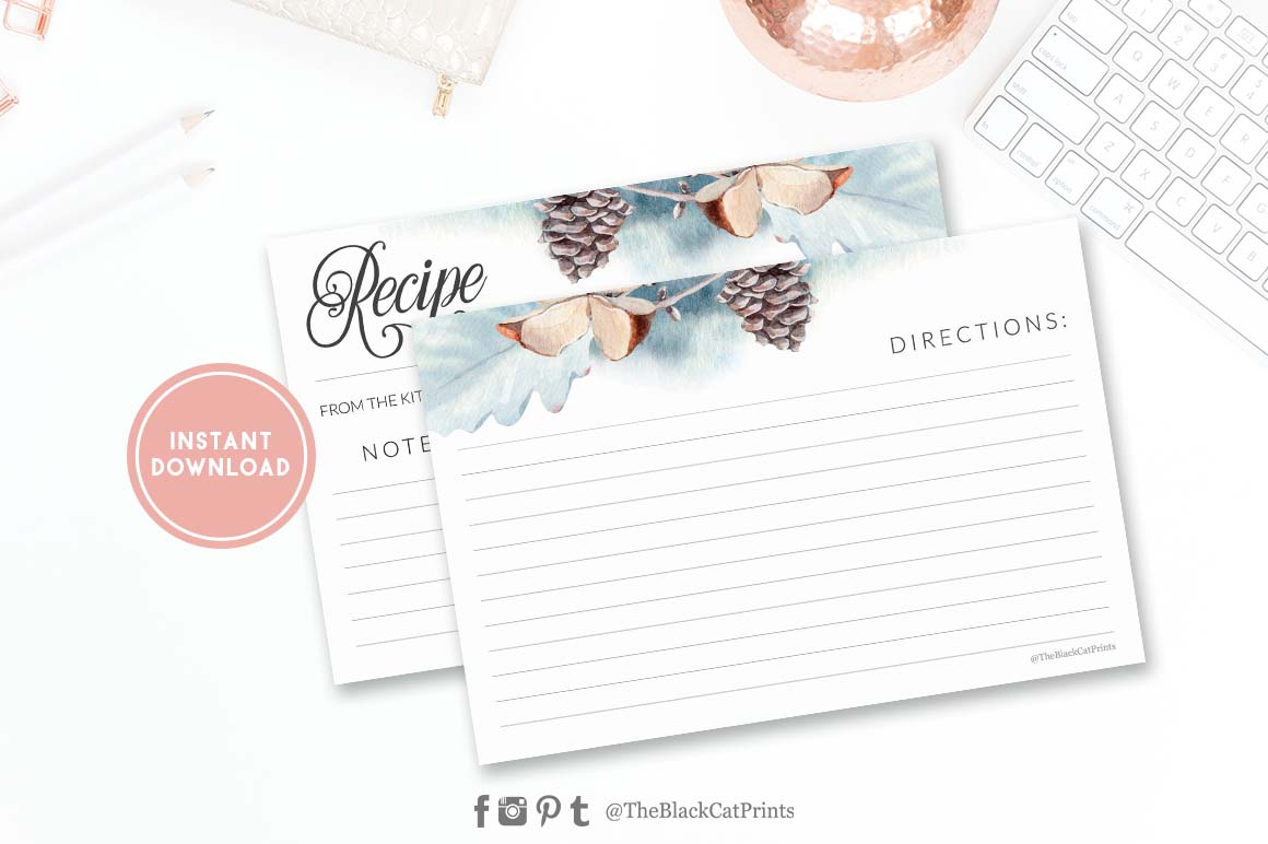 Winter Watercolor Recipe card | Printable | Double Sided example image 2
