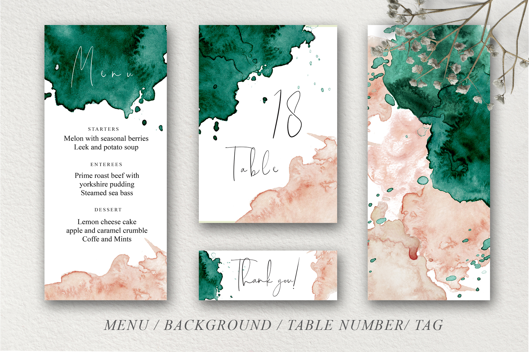 Green and Pink Wedding Invitation Suit example image 9
