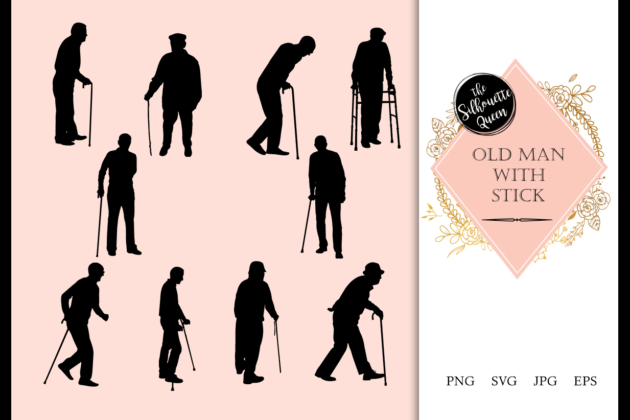 Download Old Man Silhouette, Old Man Clipart, SVG, cut file, cricut,