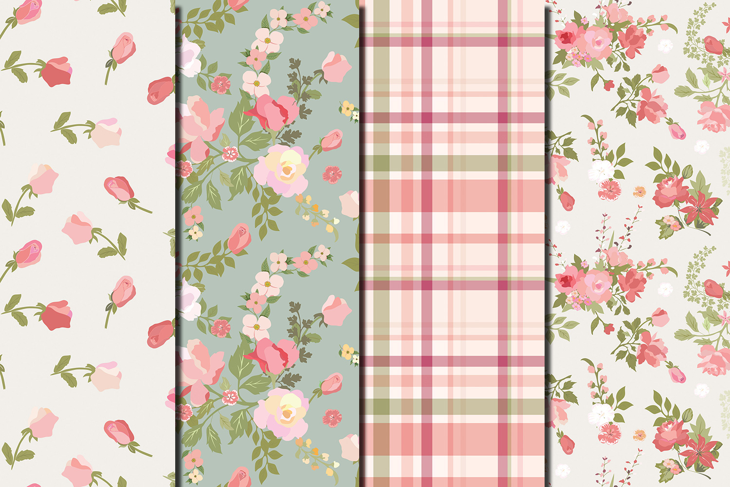 Shabby chic pink roses seamless digital paper pack example image 2