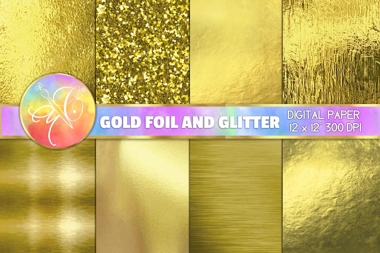 Gold Foil and Glitter Digital Paper, Gold foil Background example image 1