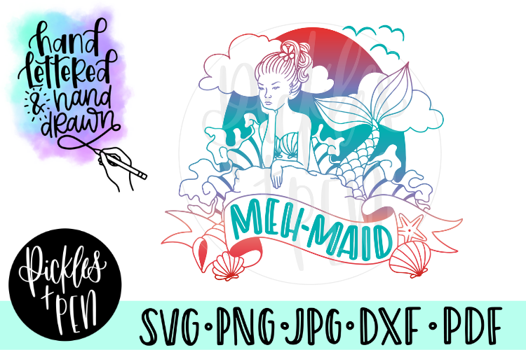 Meh-Maid - Funny Mermaid SVG example image 1