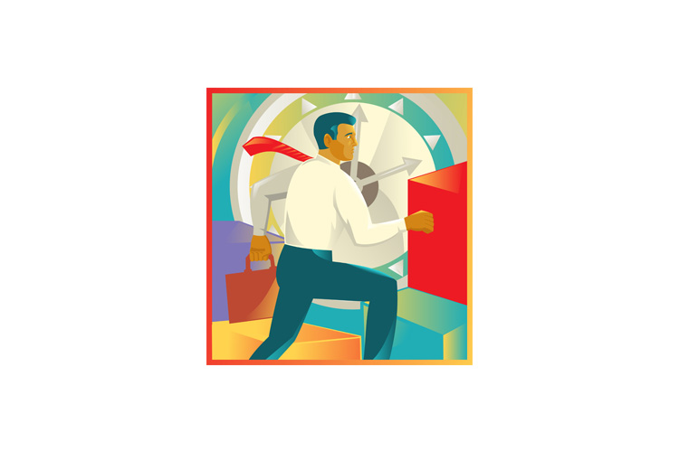 Businessman Officer Worker Clock Retro example image 1