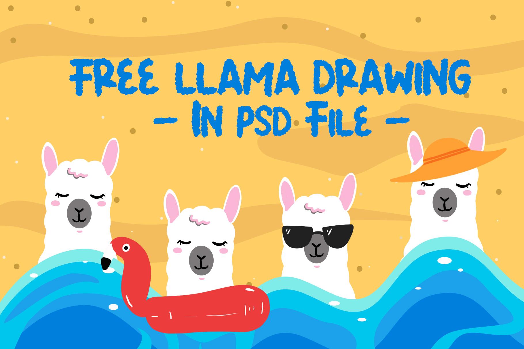 Summer Llama Typeface - Extra Drawing Llama example image 4