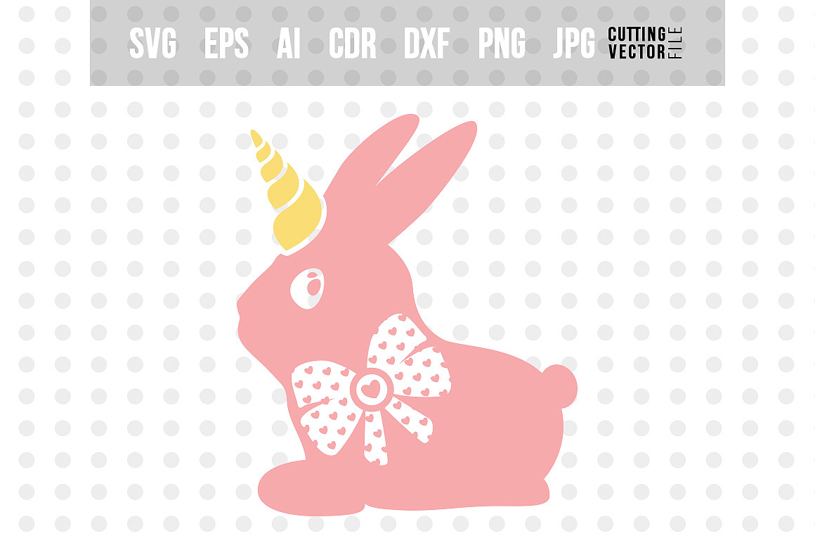 Bunny Unicorn SVG - Easter Vector example image 1