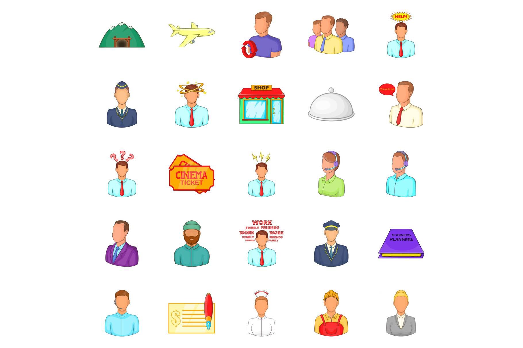 Way of life icons set, cartoon style example image 1