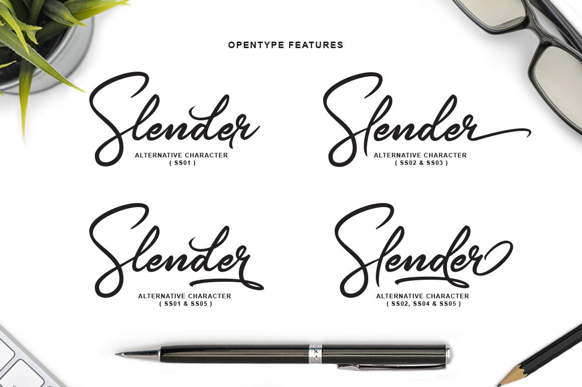 Slender Signature Font example image 4