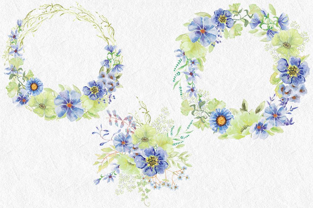 'Moody Blue' watercolor clip art bundle example image 5