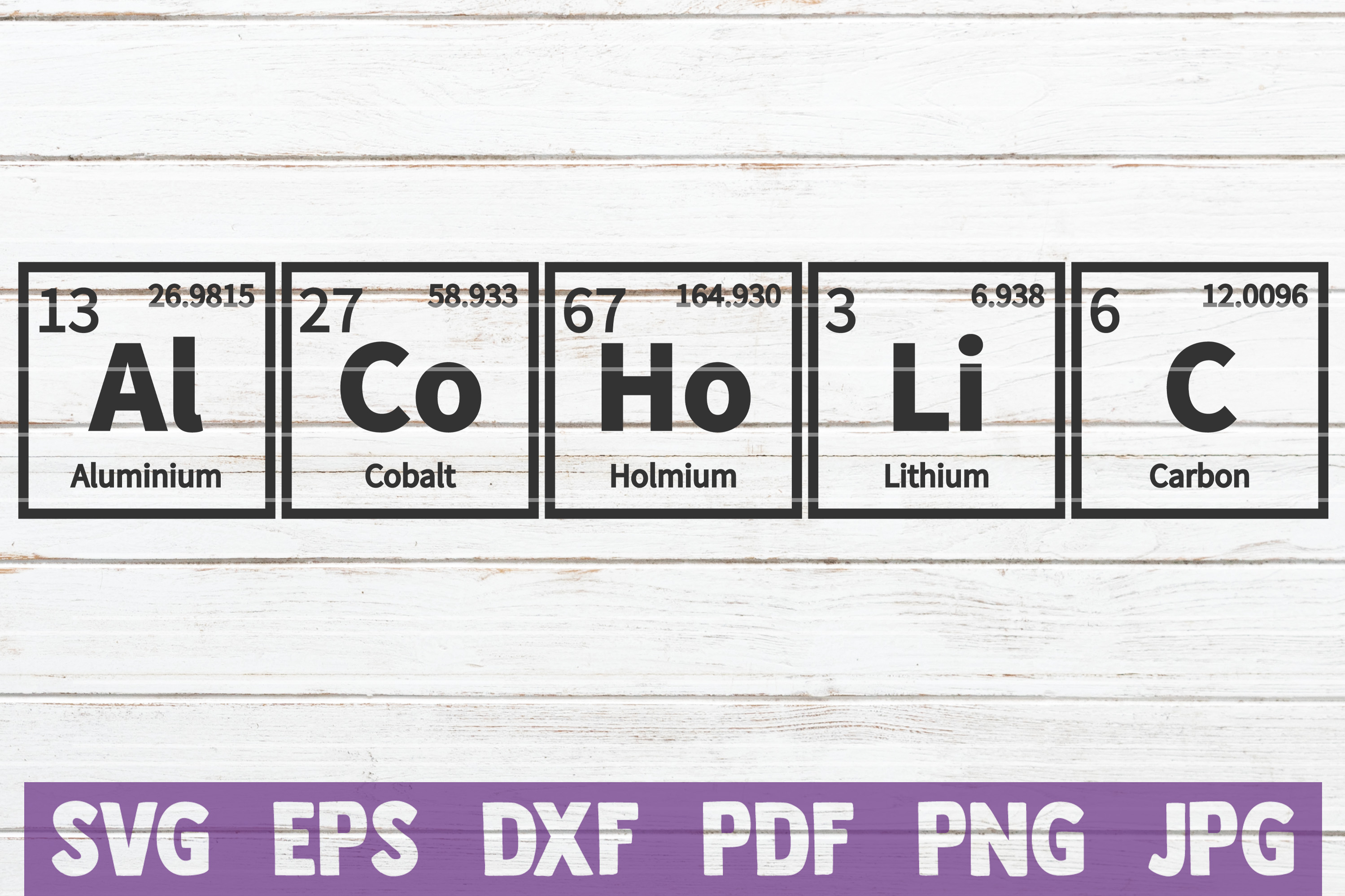 Alcoholic Periodic Table SVG Cut file | commercial use example image 1