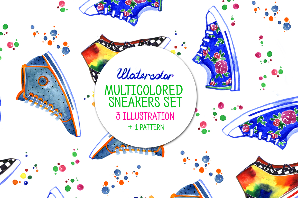 Watercolor multicolored sneakers example image 1