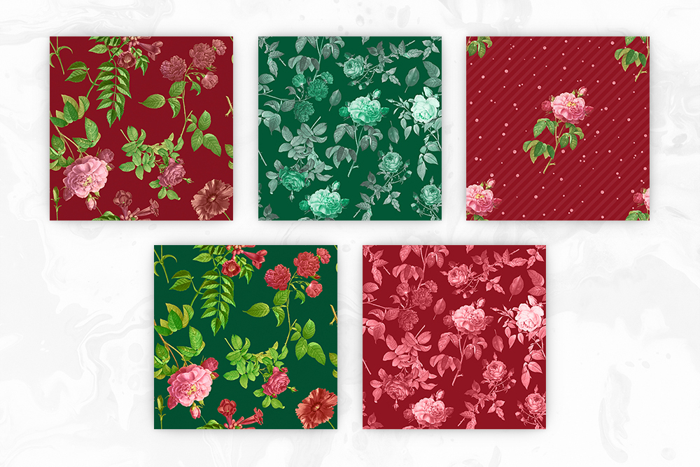 Red & Green Tileable Patterns With Vintage Flowers example image 2