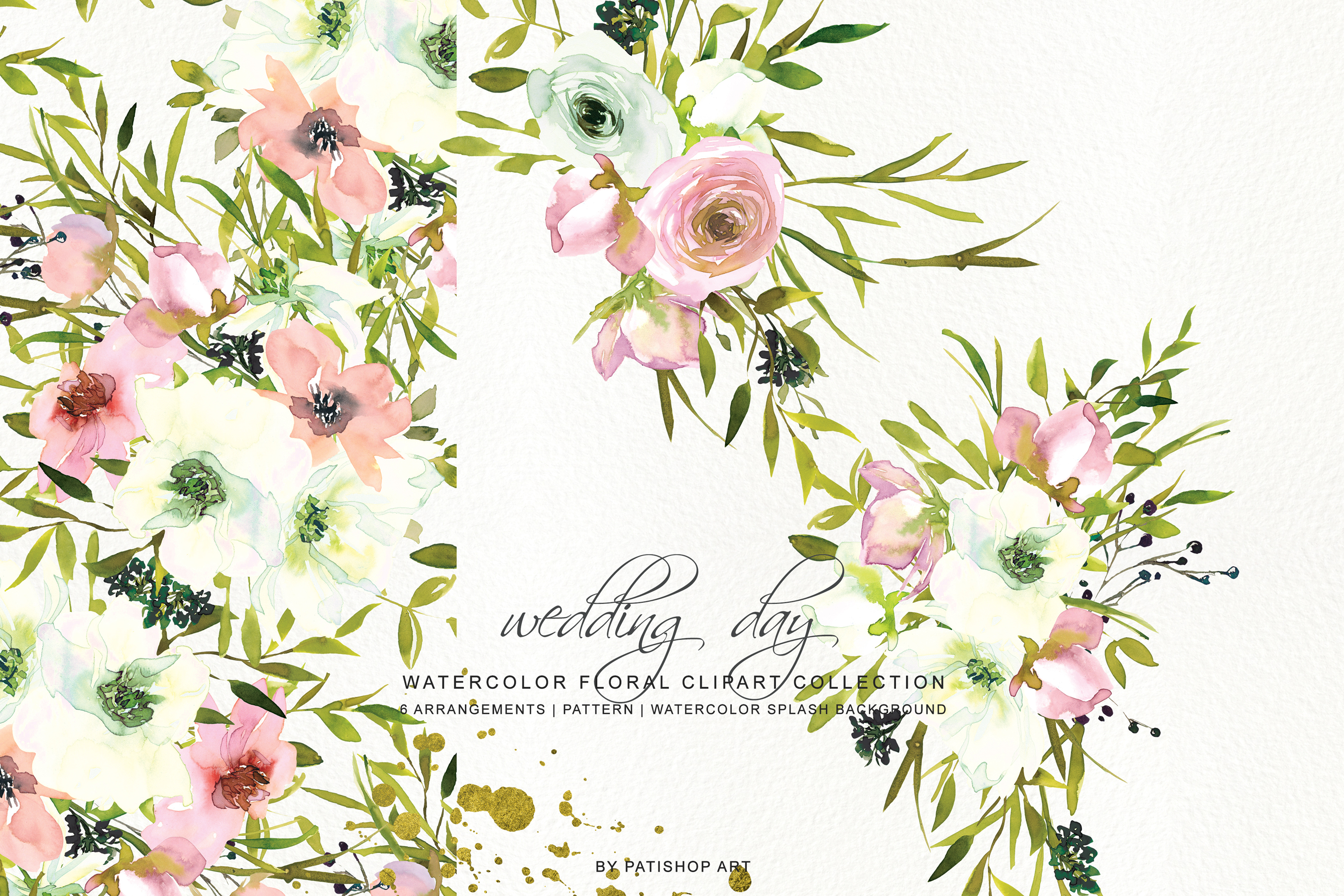 Watercolor Blush and White Florals Clipart Seamless Pattern example image 5