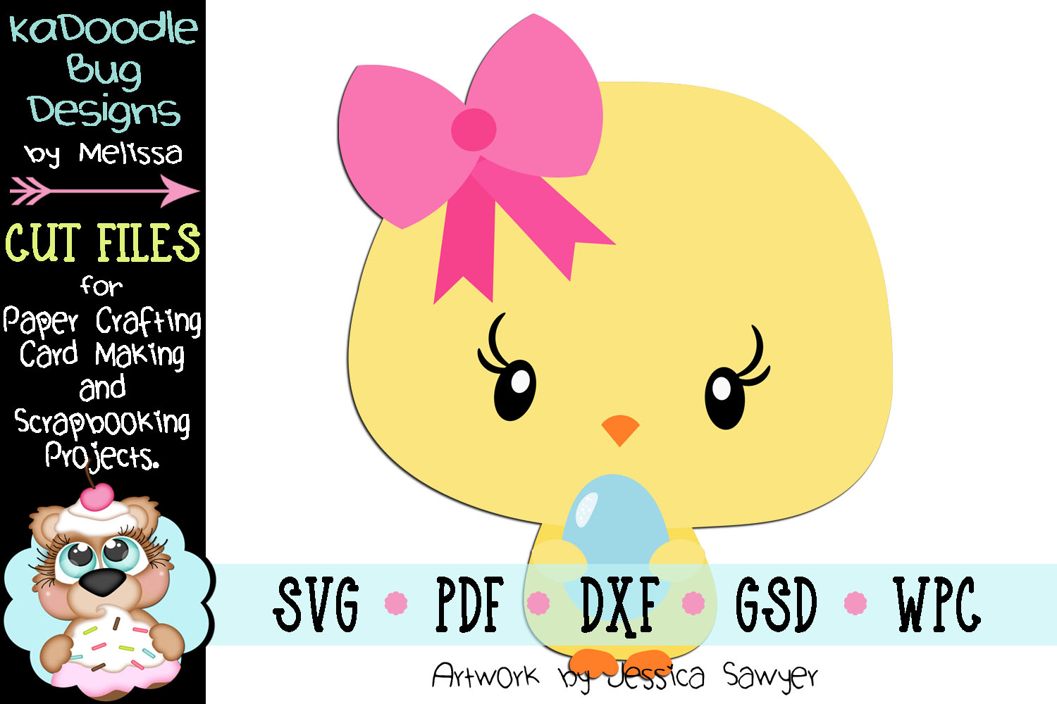 Easter Egg Chick Cut File - SVG PDF DXF GSD example image 1