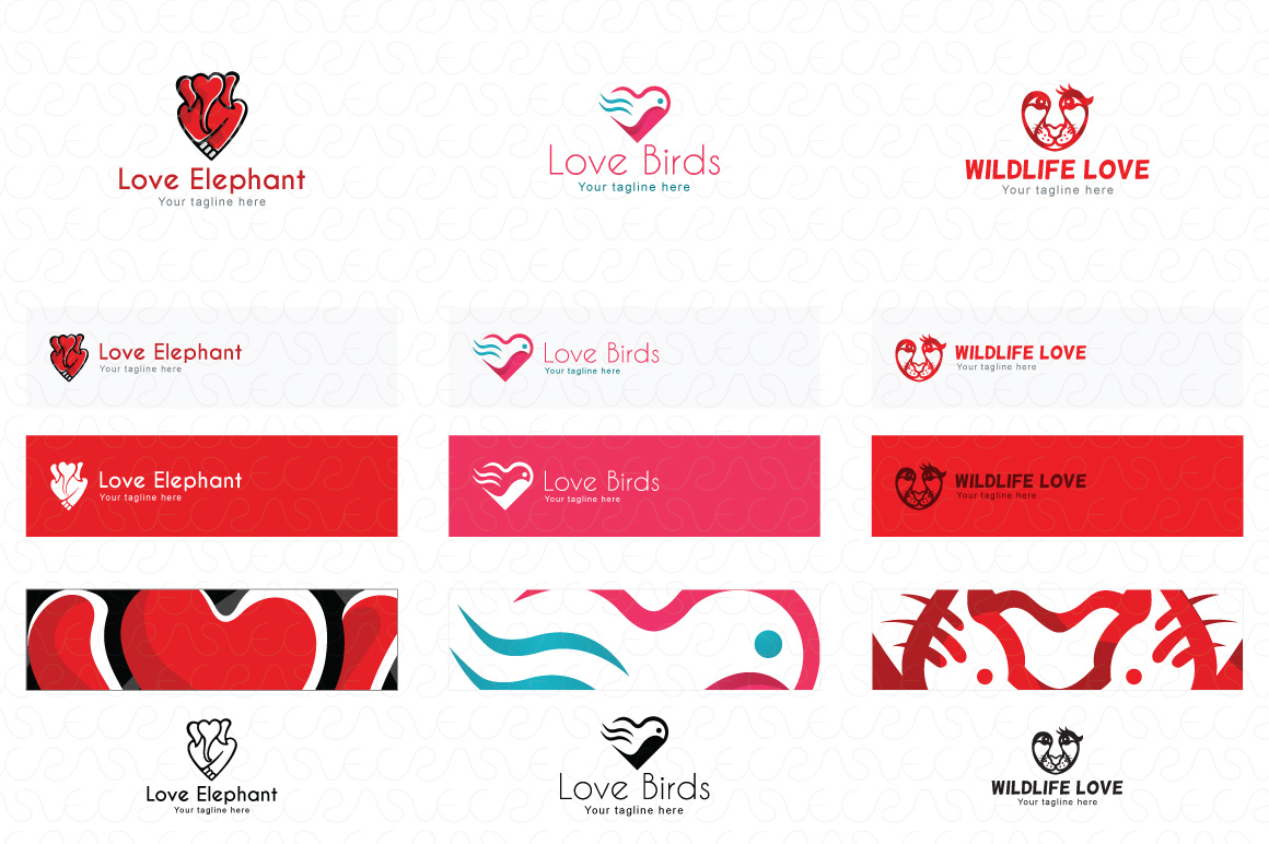 Heart Shape & Love Symbol Logo Templates Pack of 32 example image 11