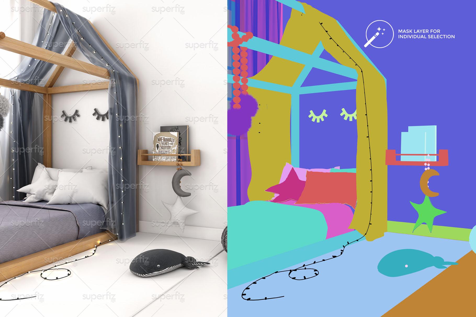 Wallpaper Mockup Kids Bedroom SM59 example image 2