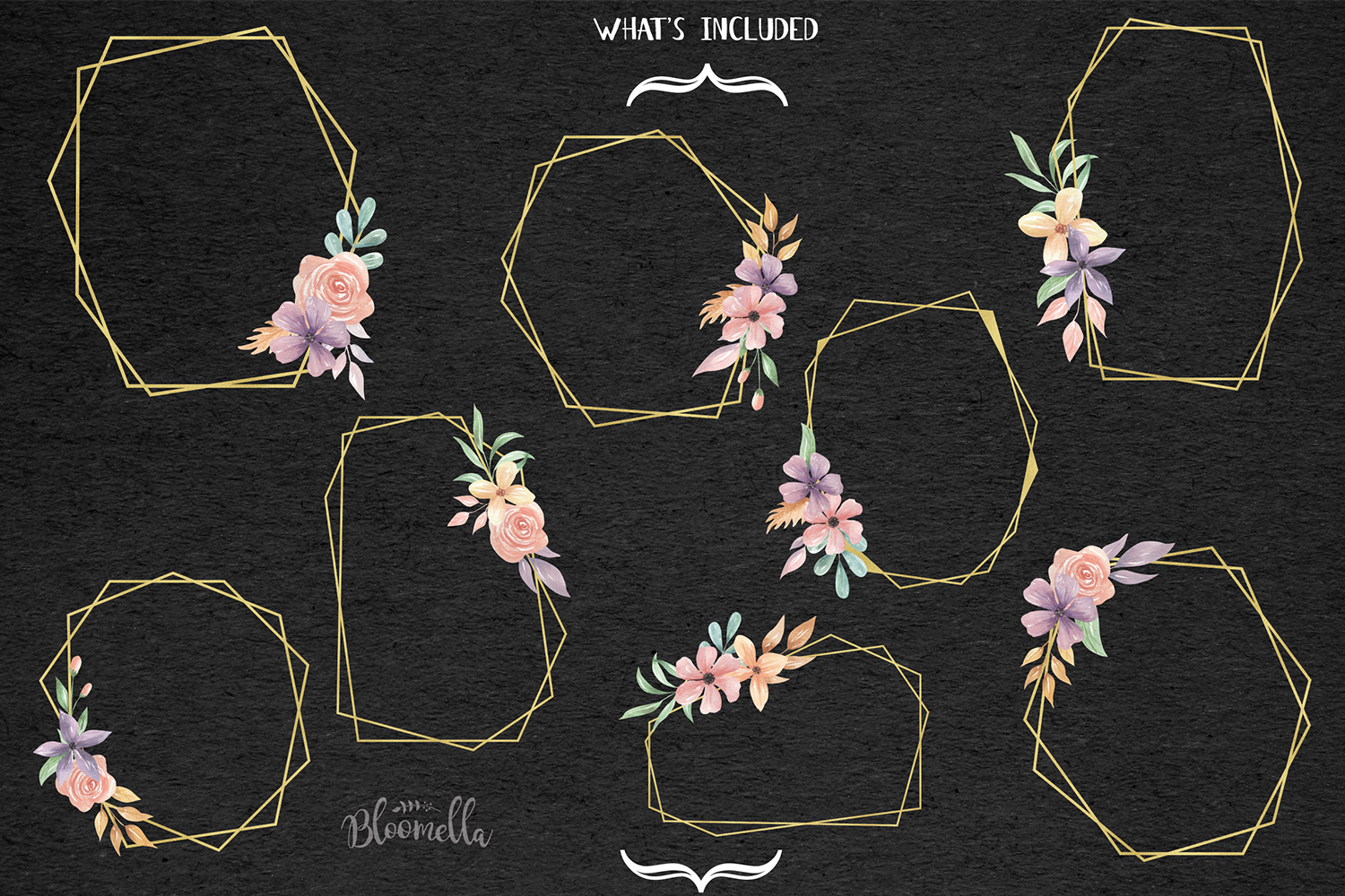 Gold 8 Frames Watercolor Floral Border Flowers Clipart example image 5