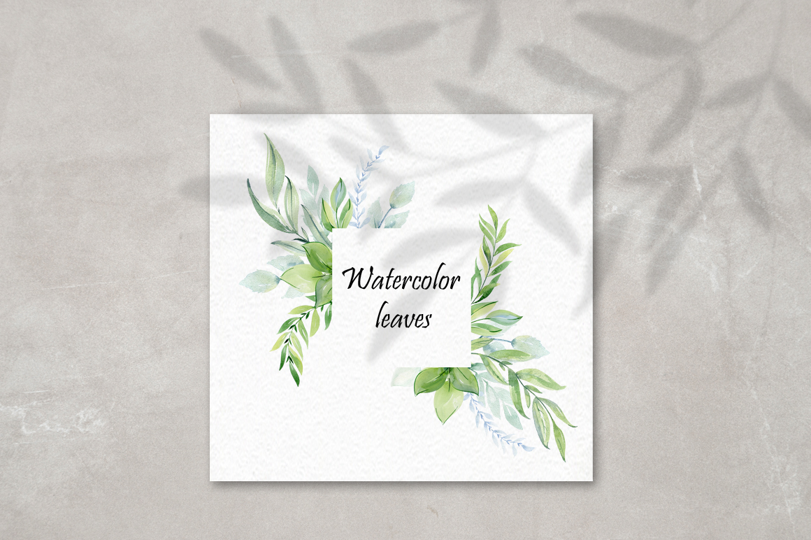 Watercolor leaves clipart. example image 9