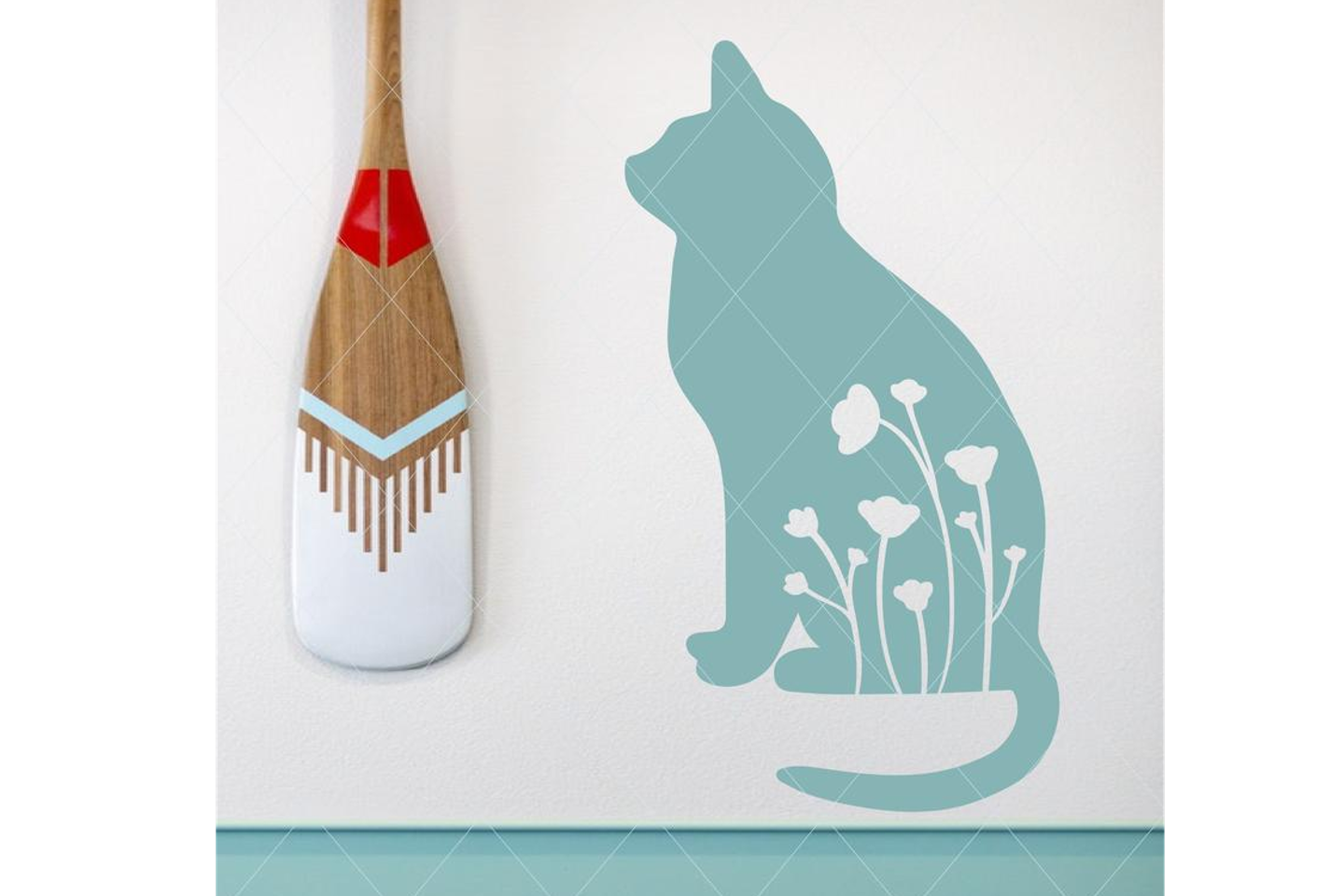 Cat and flowers svg, cat svg, flowers svg, flower cut file example image 1