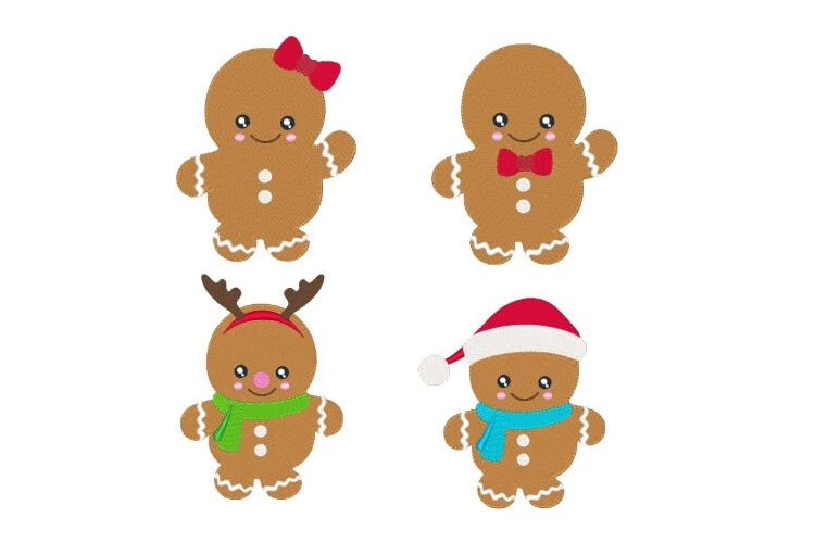 Gingers Embroidery Design Bundle Christmas Designs Set of 4 example image 1