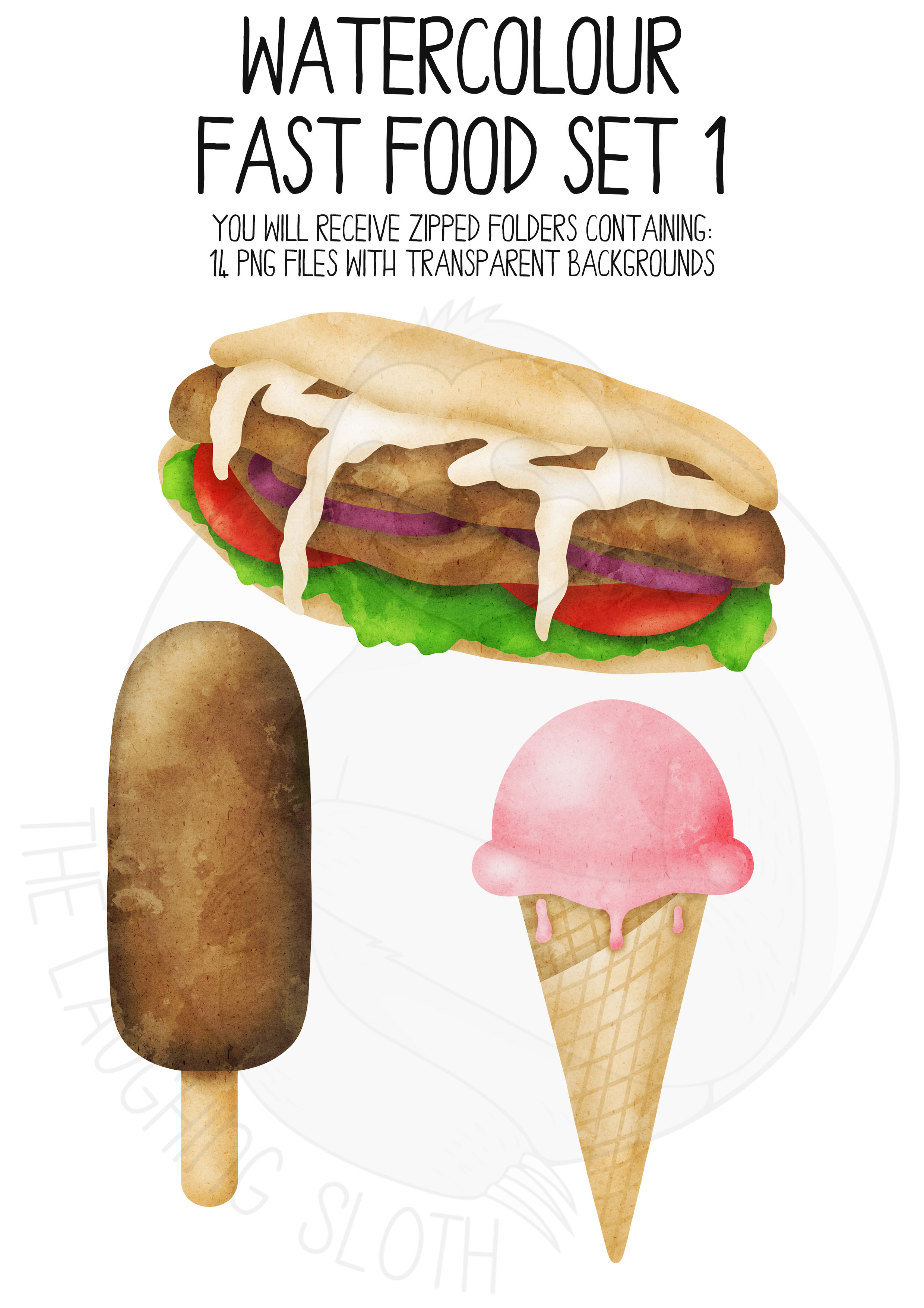 Watercolor Fast Food Clip Art Set example image 3