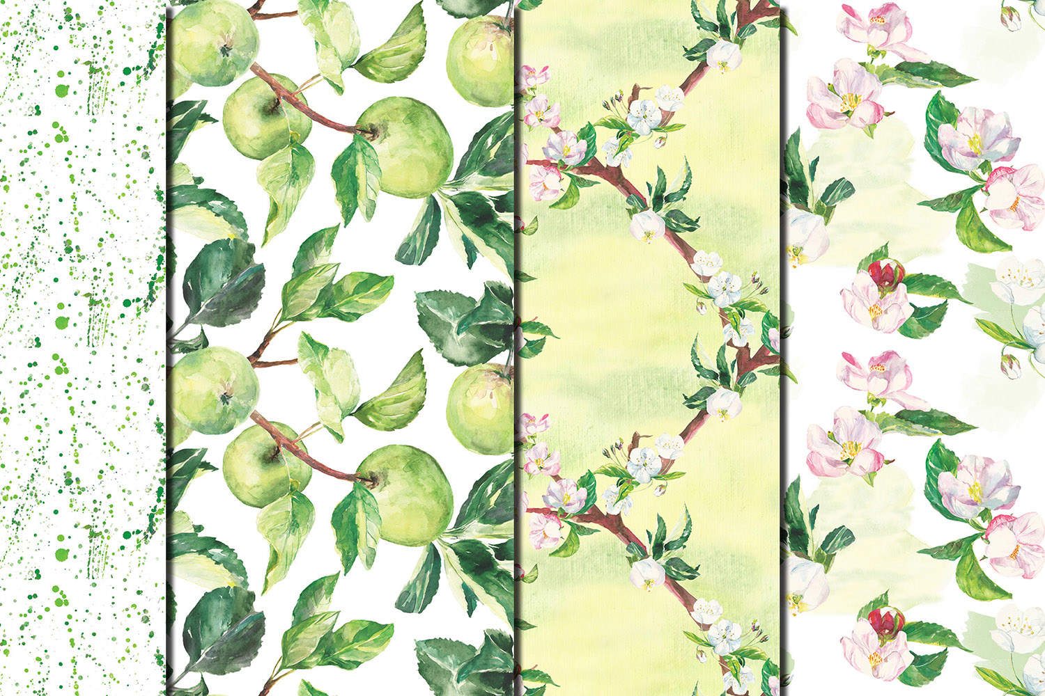 Watercolor Apple tree branches seamless patterns example image 3