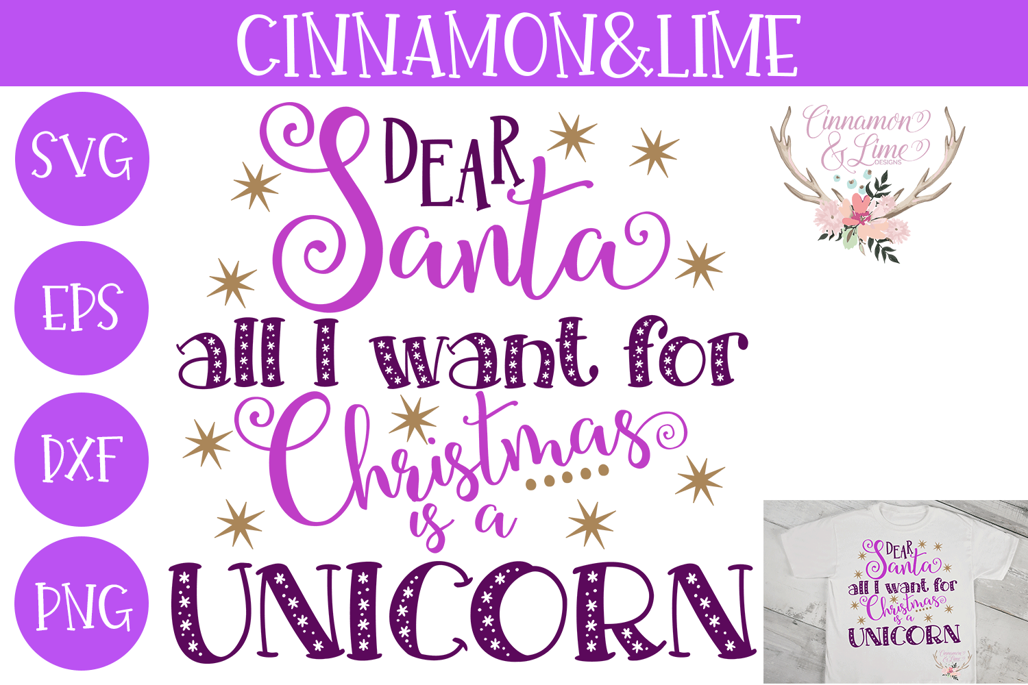 Christmas Svg - All I Want for Christmas is a Unicorn example image 1
