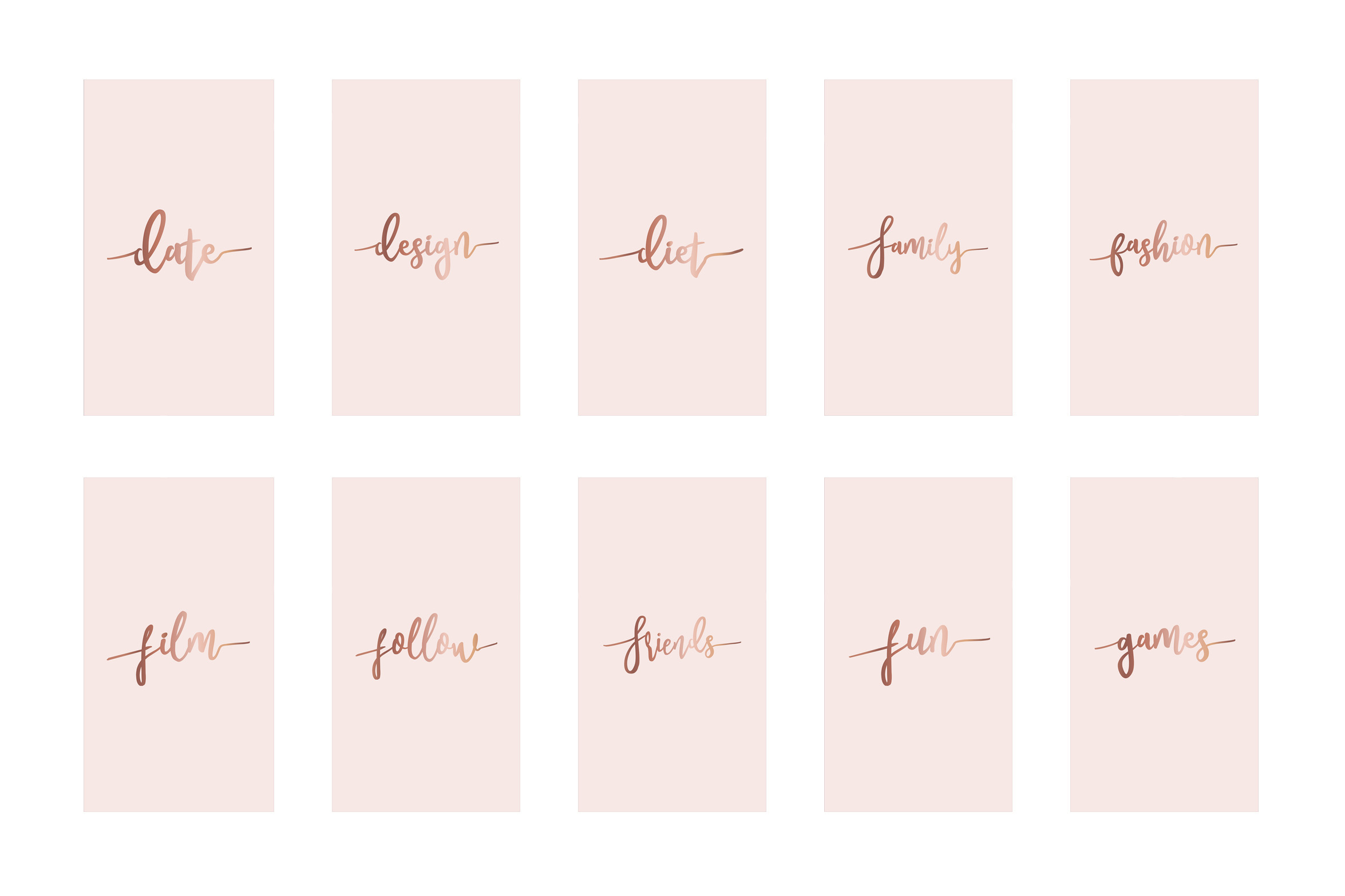 Instagram highlight covers - Rose gold script on pink example image 3