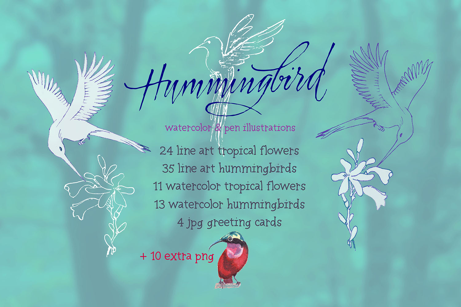 hummingbirds & tropical flowers watercolor clipart example image 2