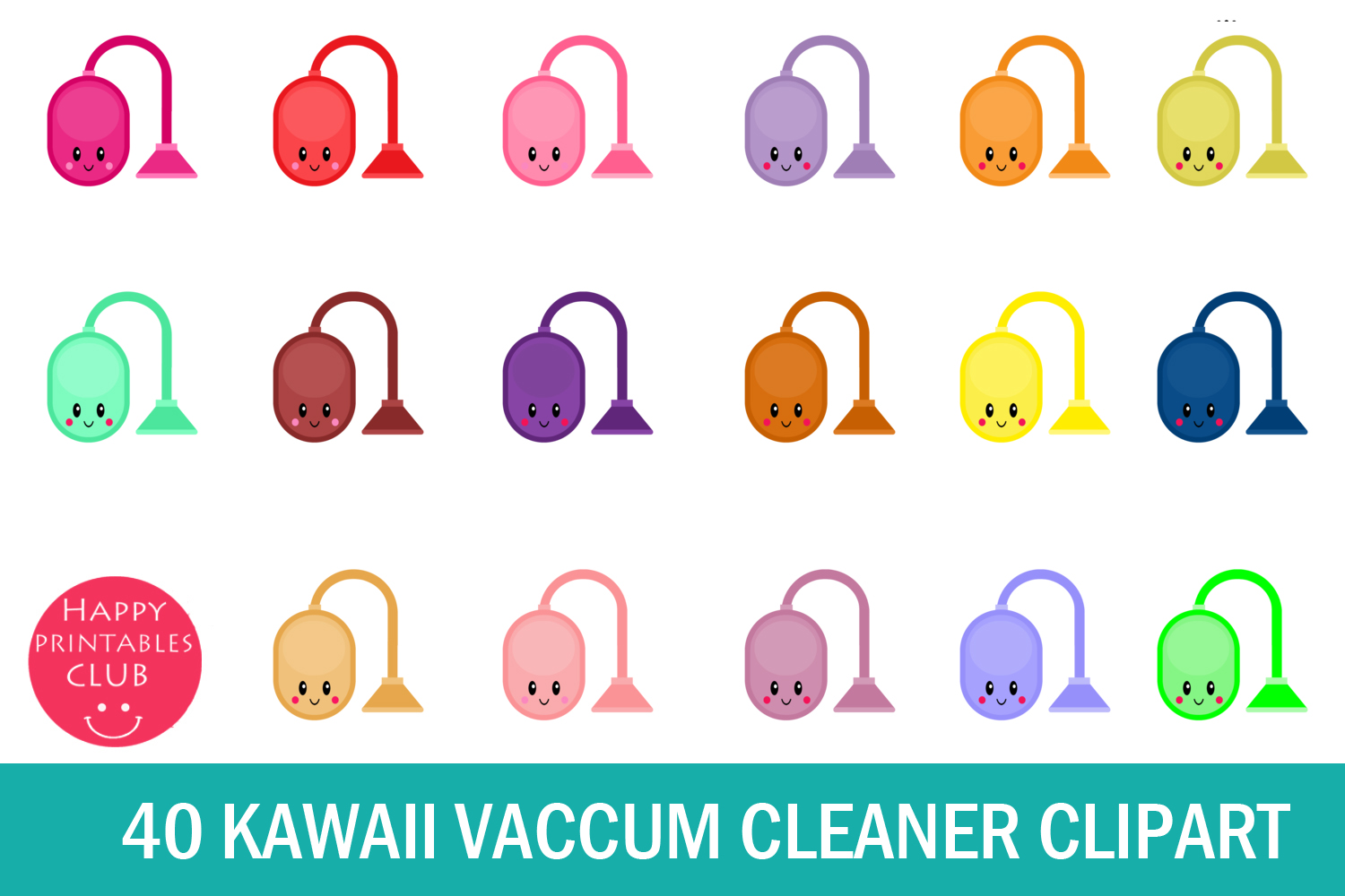 40 Kawaii Vacuum Cleaner Clipart- Vacuum Cleaner Clipart PNG example image 1