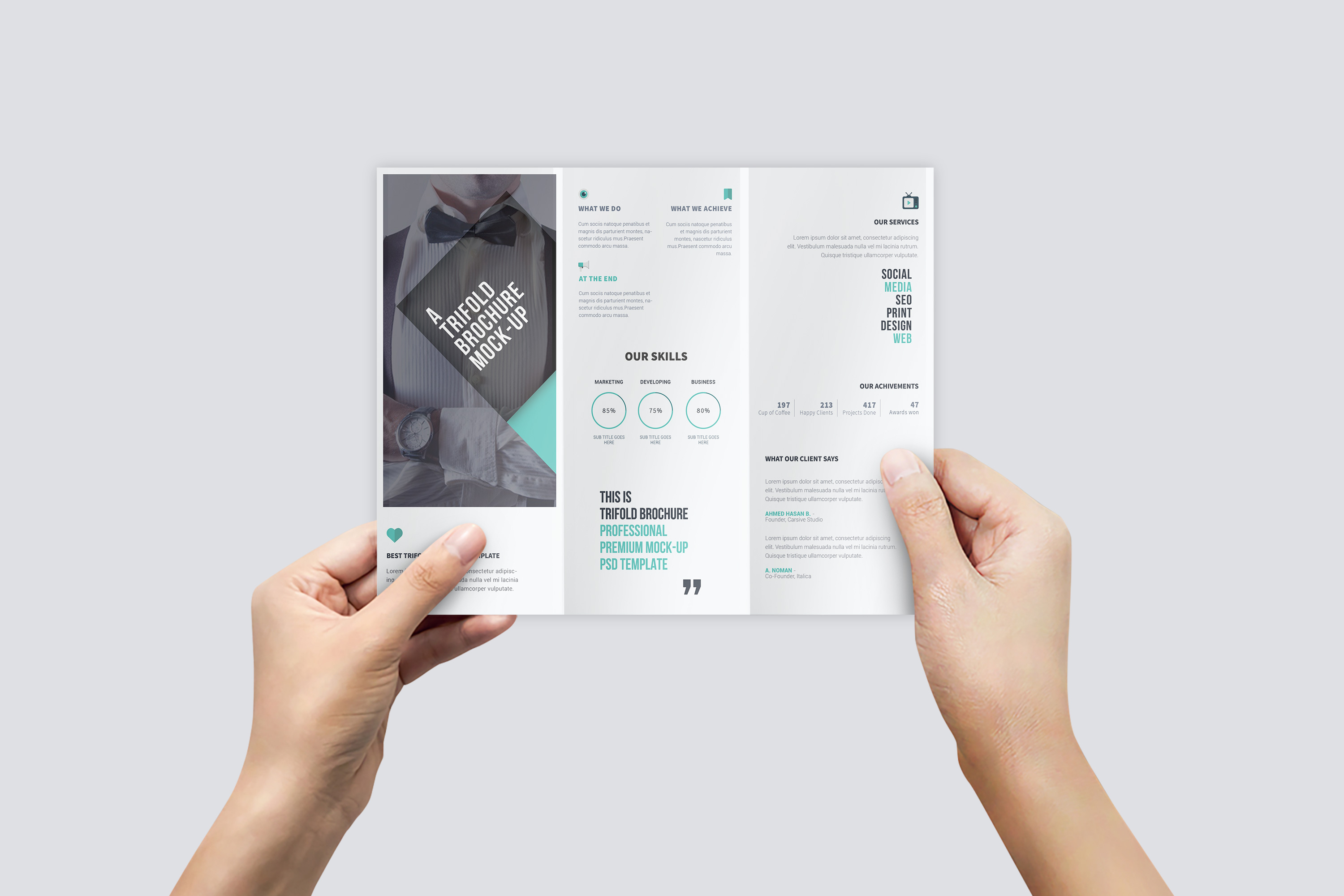 U.S. Letter Trifold Brochure Mock-Up in Hand example image 3