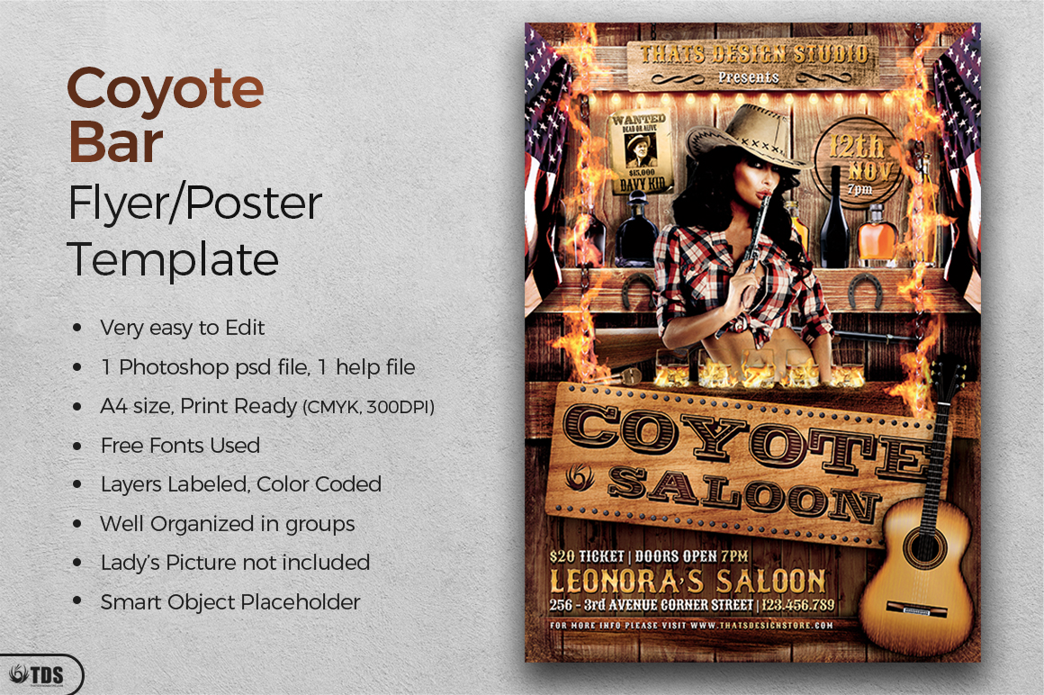 Coyote Bar Flyer Template example image 2