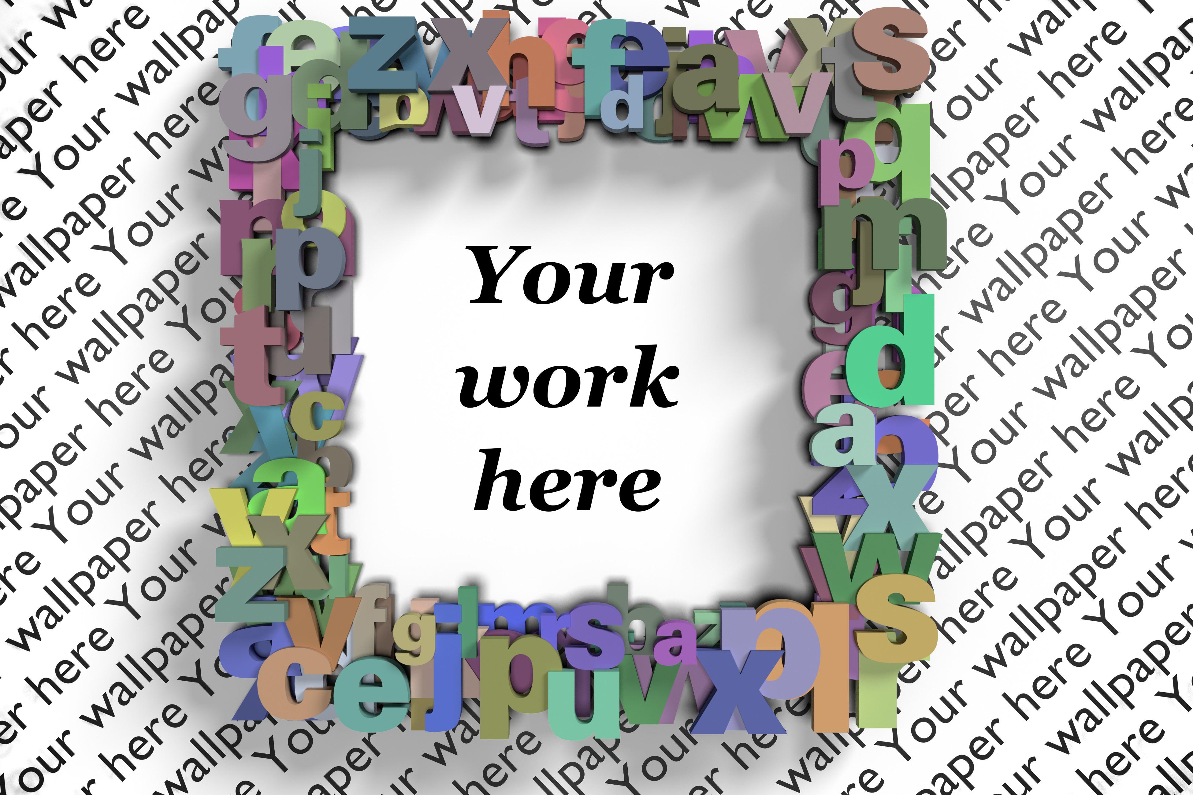 Alphabet letters digital frame mock up, transparent backdrop