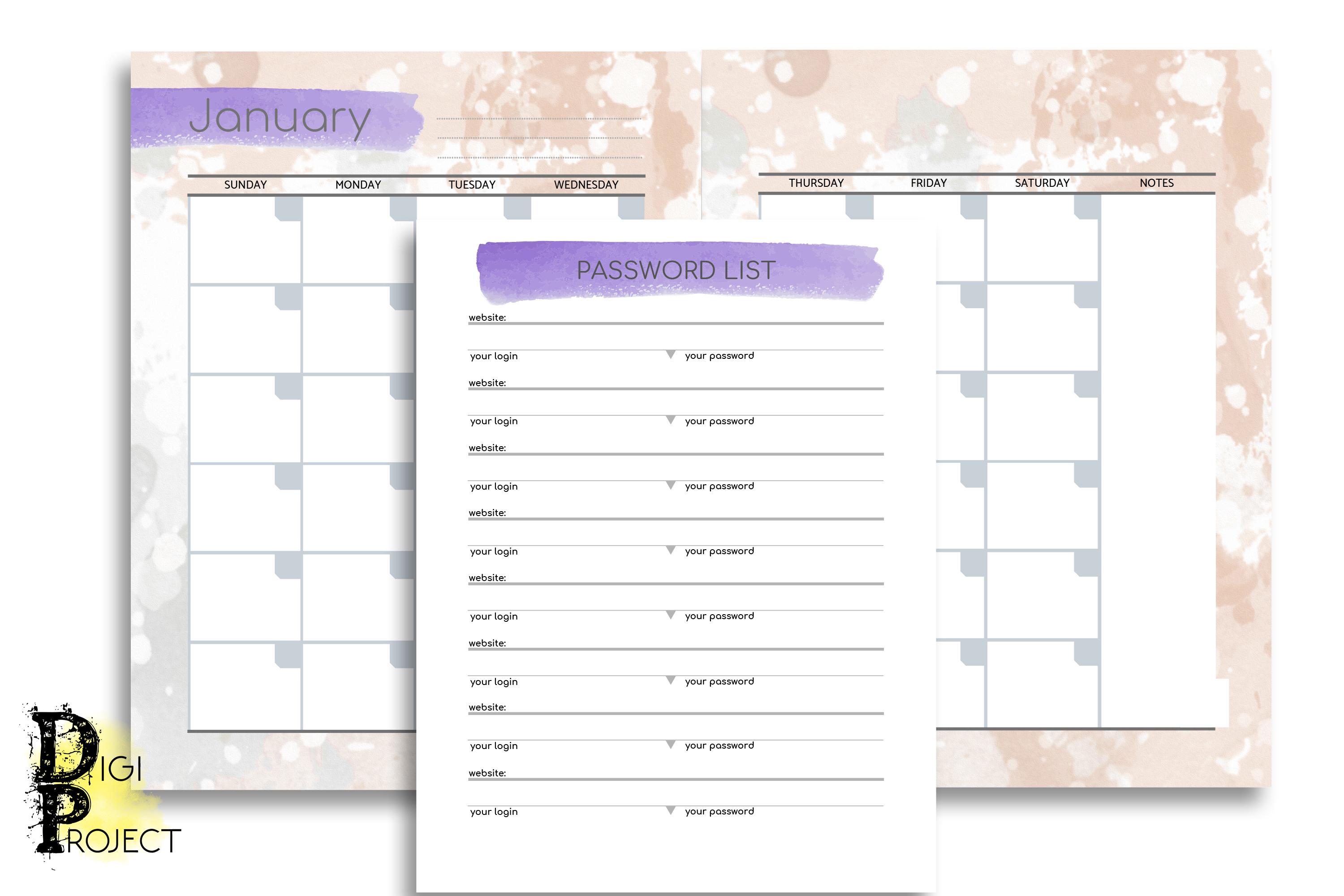 Printable Watercolor 2020 Life Planner Kit example image 4