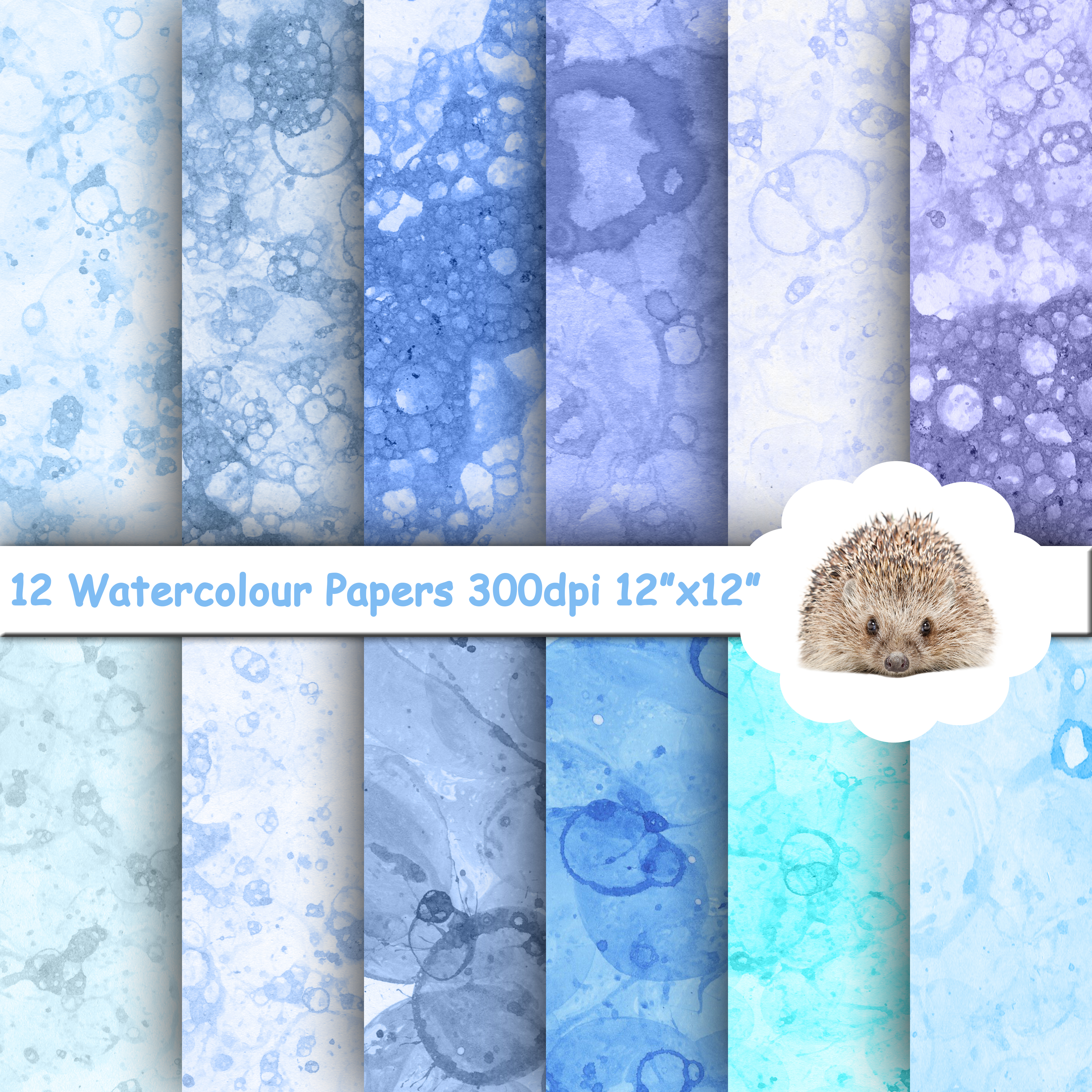 12 Blue Tones Watercolour Textured Paper / Backgrounds example image 1