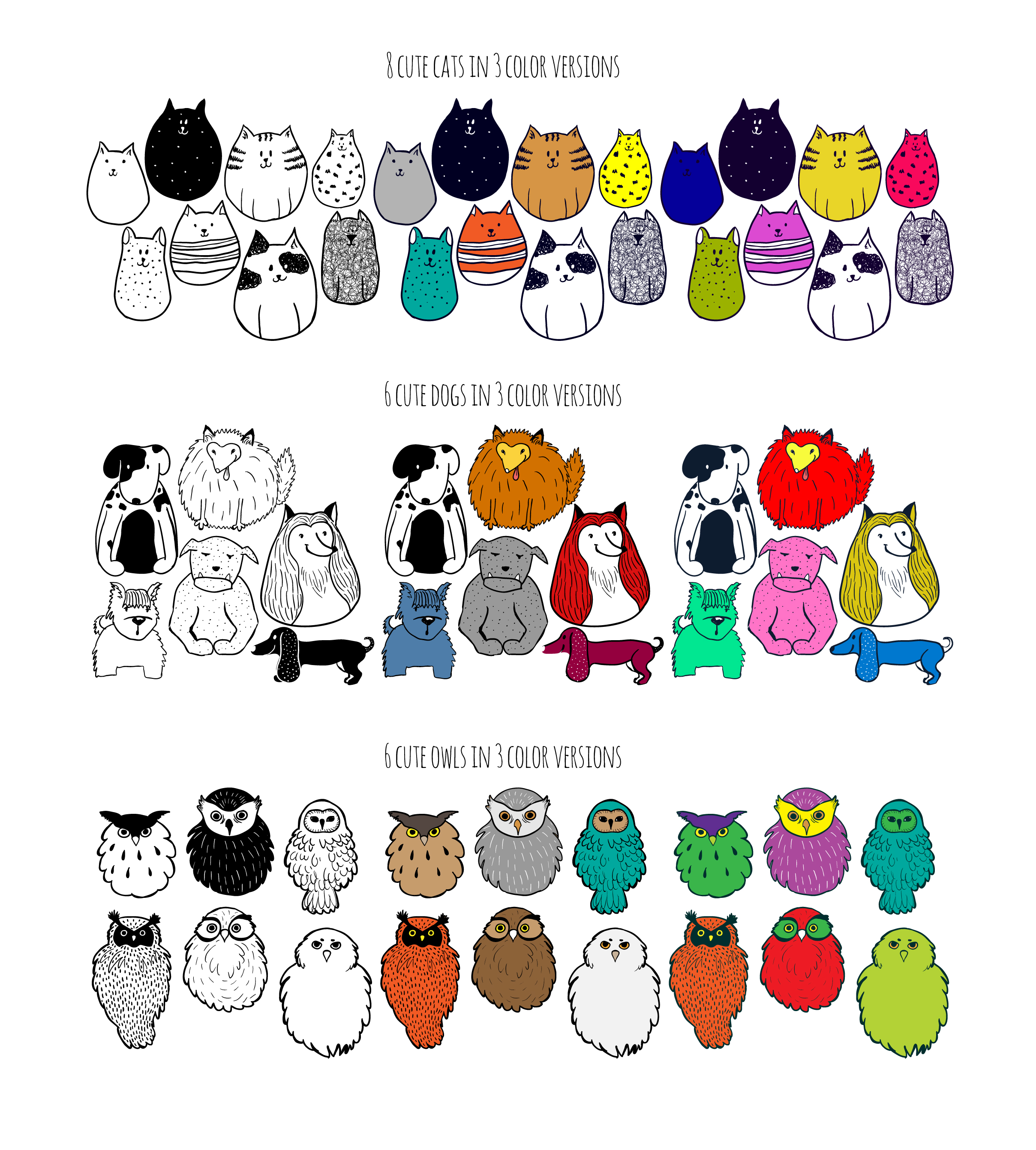 Cute doodle animals set example image 2