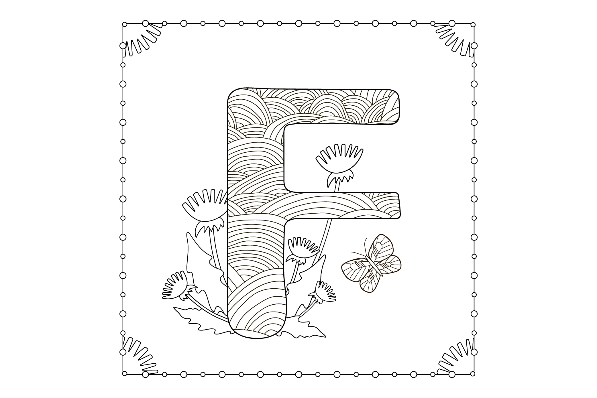Letter F. Flowers. Coloring page. example image 1
