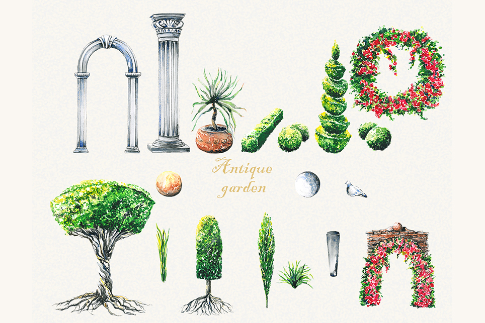 Tree clipart, topiary clipart, garden clipart, trees clipart example image 3