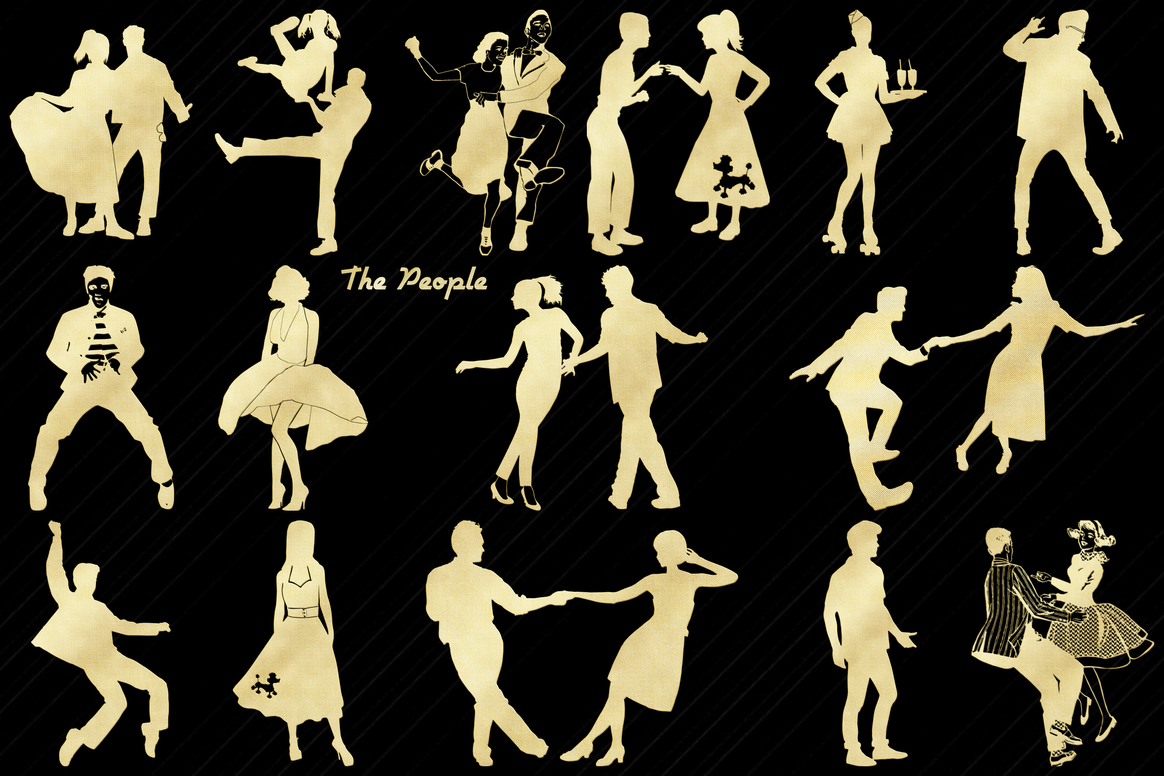 Retro 1950s Gold Foil Life and Party ClipArt example image 2