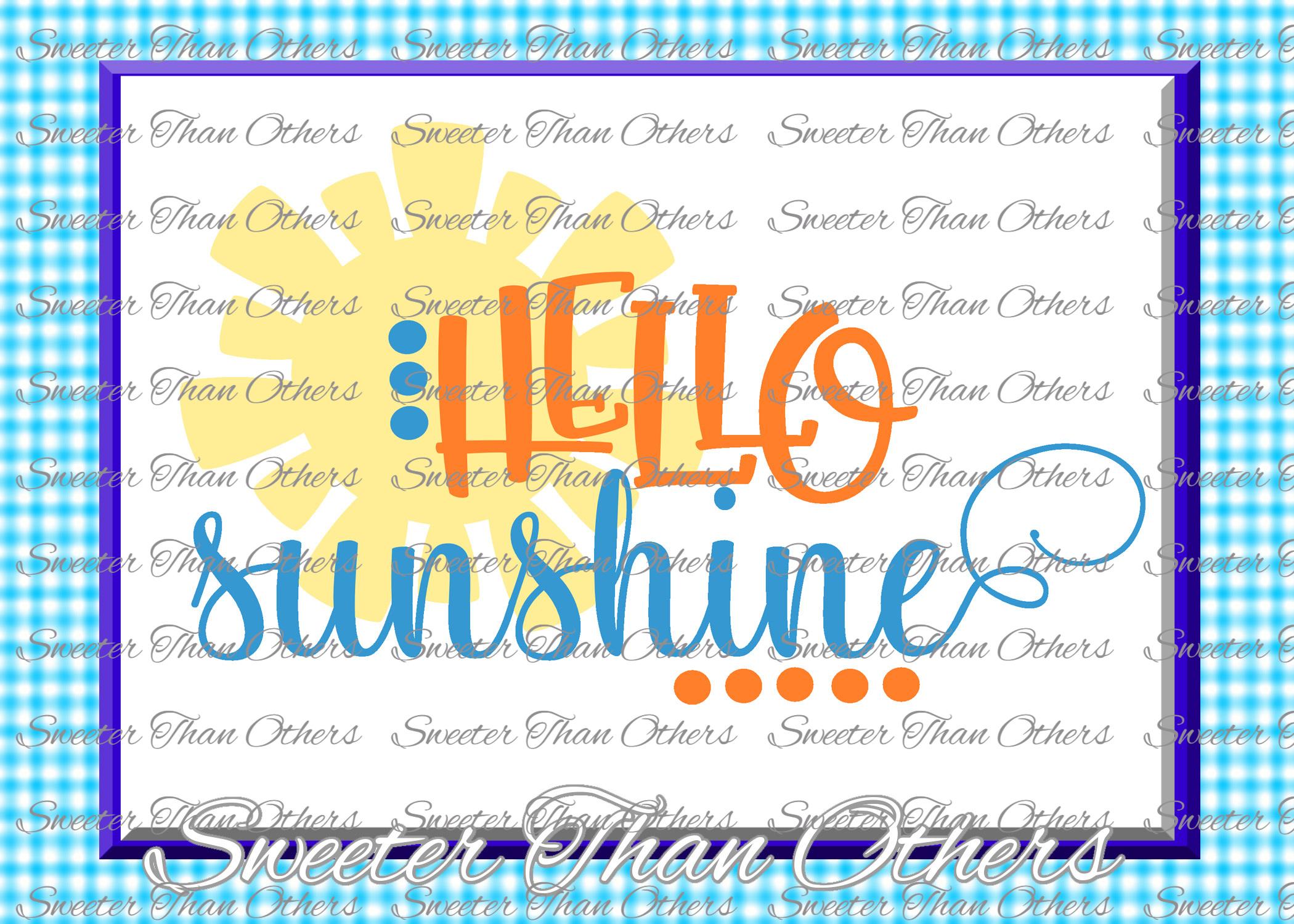 Beach Svg Hello Sunshine svg, Summer Beach pattern example image 1