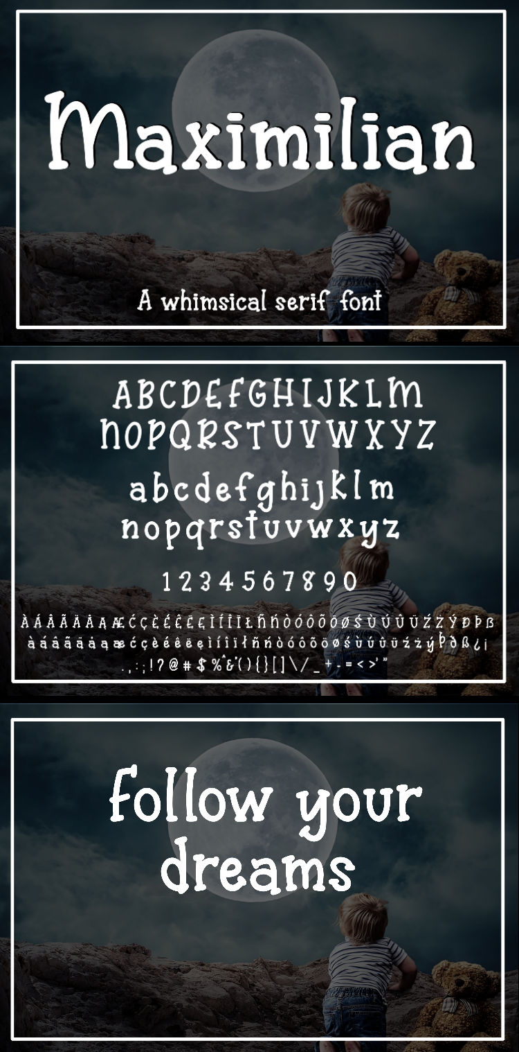 Maximilian - A whimsical serif font example image 8