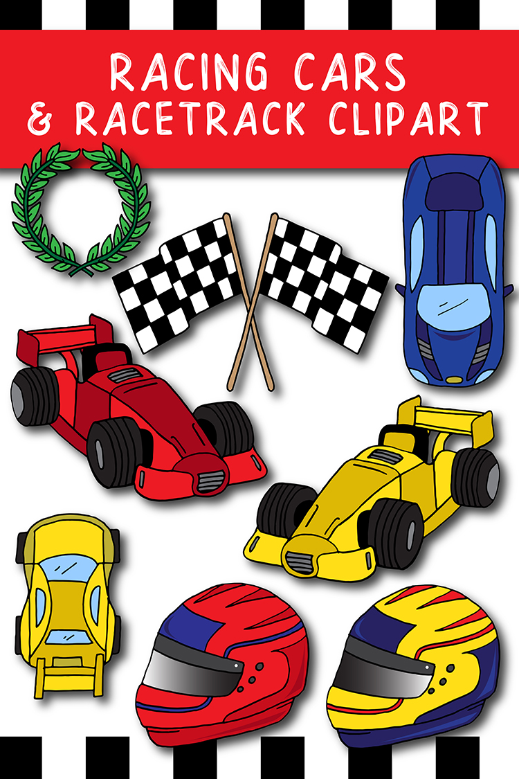 23 Racing Cars and Racetrack Graphics Illustrations Clipart example image 5