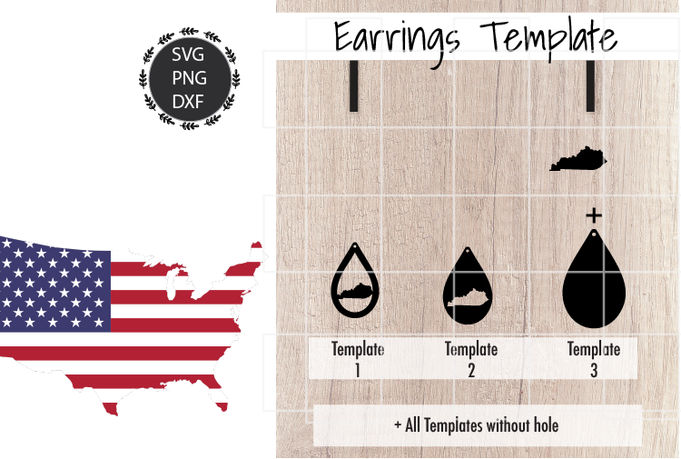 Earrings Template - Kentucky Teardrop Earrings Svg example image 2