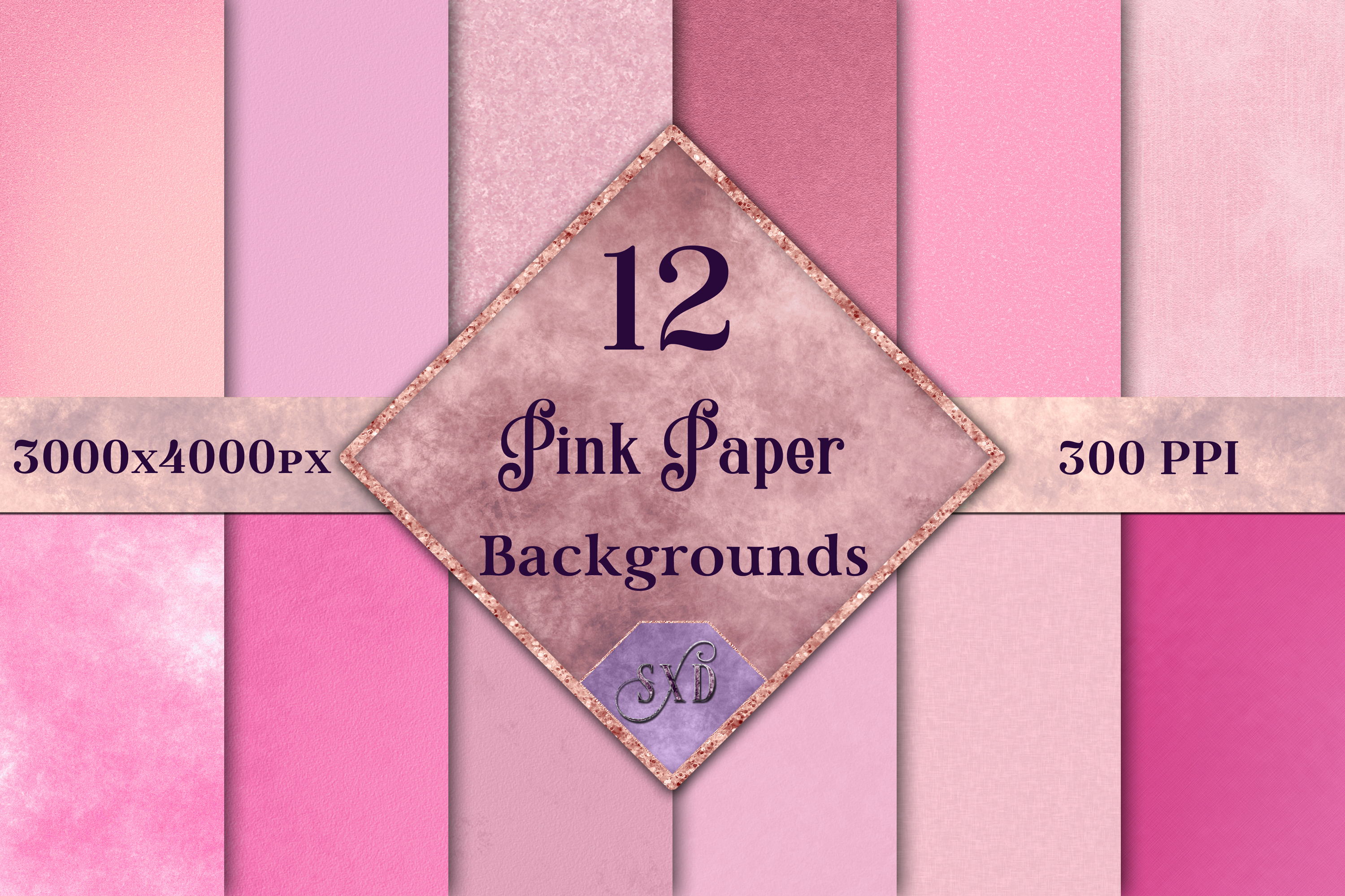 Pink Paper Backgrounds - 12 Image Set example image 1