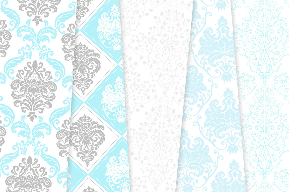 Blue and Grey Damask Patterns - Seamless Digital Papers example image 4