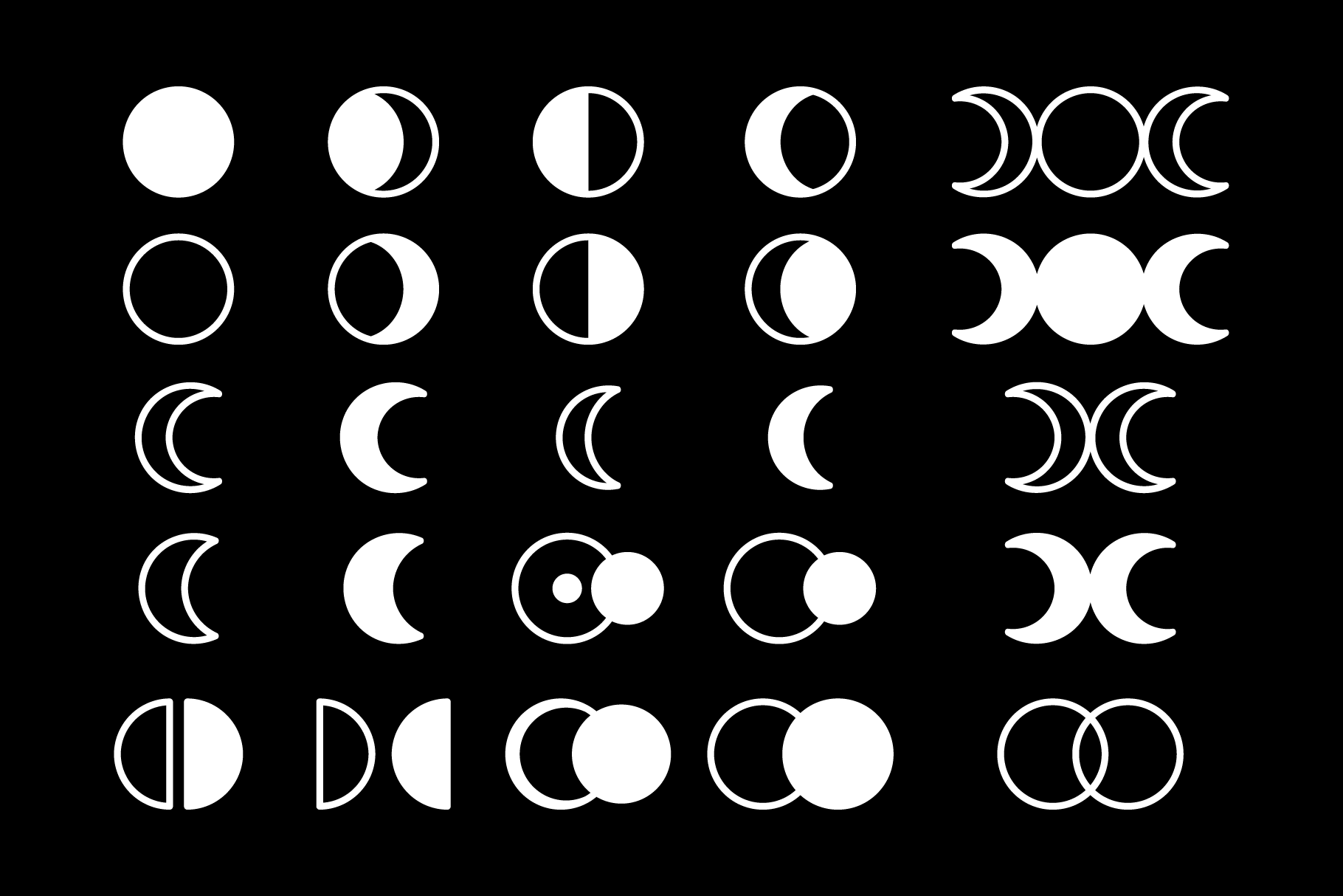 Moon Cycle Icons Clip Art Set example image 7